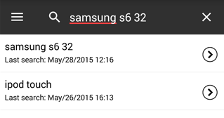 Cropped screenshot showing sample search on Android