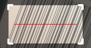 Cropped screenshot showing barcode scanner in action